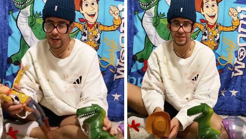 Día 8 de cuarentena: Bad Bunny se volvió loco y habla con sus juguetes