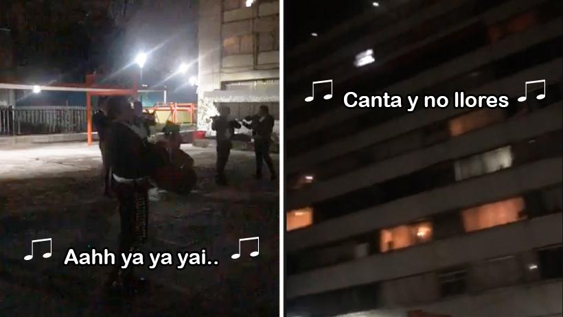 ¡Eso, mi México! Vecinos de Tlatelolco contratan mariachis para alivianar la cuarentena