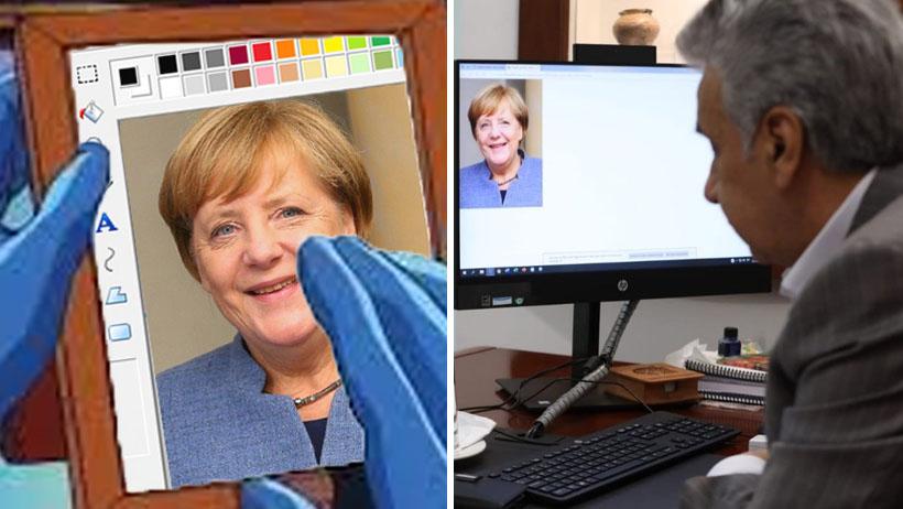 El futuro es hoy: presidente le hizo una fotollamada en Paint a Angela Merkel y se armó la memiza