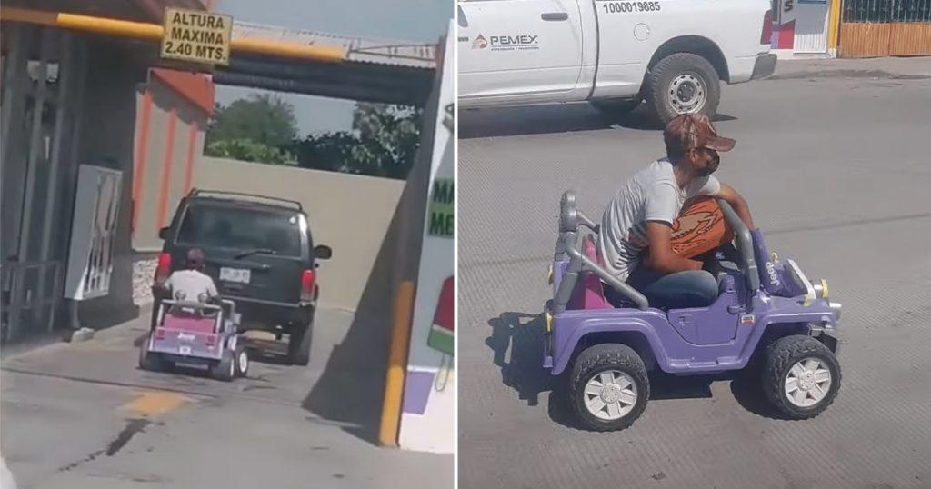 hombre va a comprar pizza en coche de juguete tamaulipas video viral
