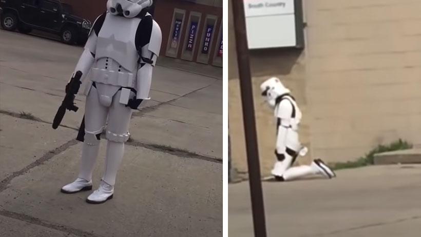 Demasiada cuarentena por hoy: detienen a mujer en la calle por ir disfrazada de Storm Tropper