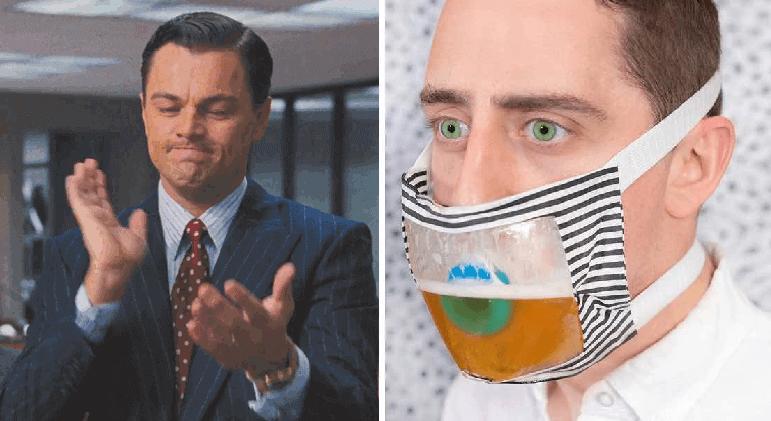 Crean crubrebocas con el que supuestamente puedes beber cerveza con ellos puestos