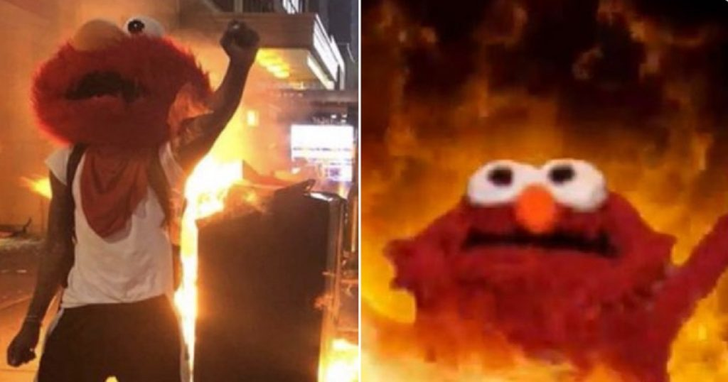 """""""Meme de """"Elmo en llamas"""" se hace realidad en protesta en Estados Unidos"""