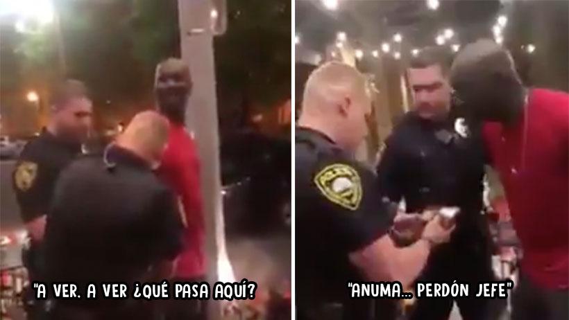 """Karma nivel: Te agarra la policía por ser de color, pero resulta que """"Ah perdón señor, nos confundimos"""""""