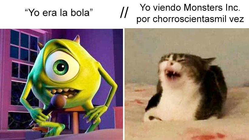 Viendo Monsters Inc gato meme