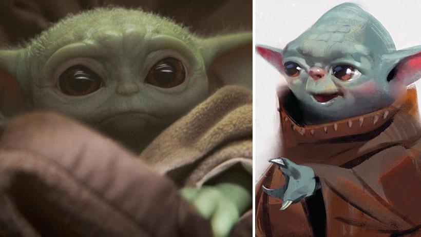 Tú lo ves muy bonito y tierno, pero así lucían las primeras versiones del Bebé Yoda