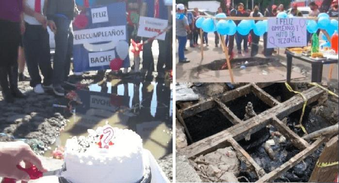 Vecinos le hacen fiesta de cumpleaños a bache que ya cumplió un año