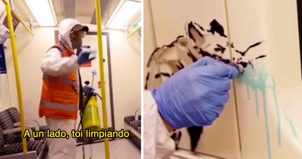 Banksy se hace pasar por limpiador del metro y deja todo pintarrajeado