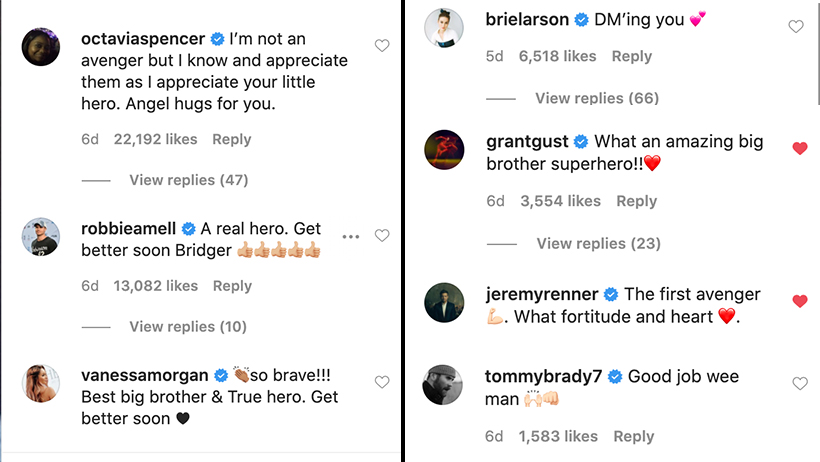 Heros comments Grant Gustin Brie Larson Tom Brady