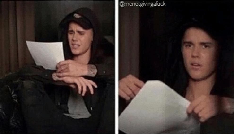 Justin Bieber reading meme
