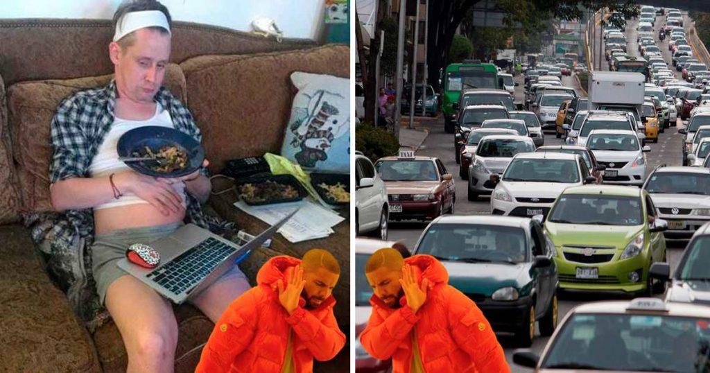 cuarentena trafico hombre se queja meme