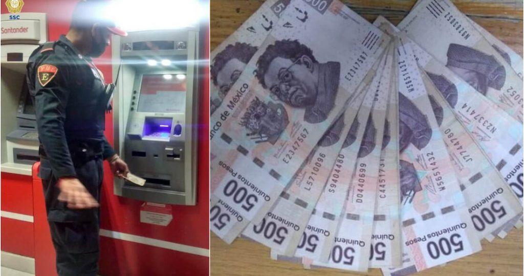 Policía devuelve billetes que encontró en el cajero y el banco lo premia