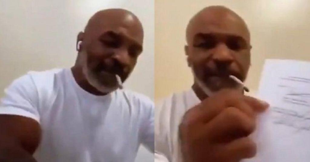 Mike Tyson firma contrato fumando de la que dejó verde a Shrek (VIDEO)