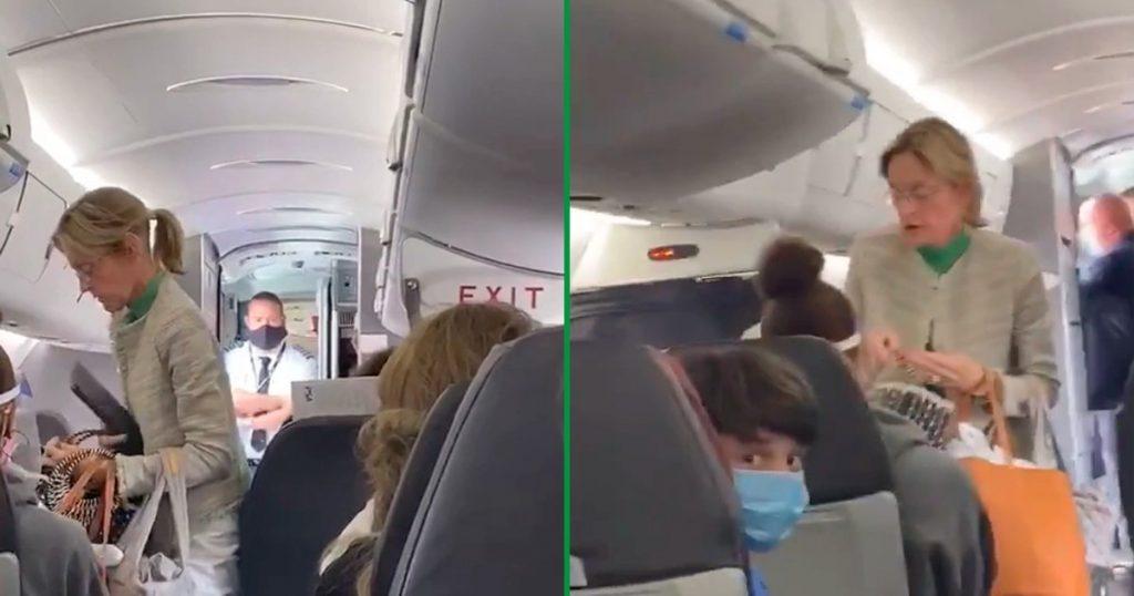 cubrebocas mujer expulsada avión video