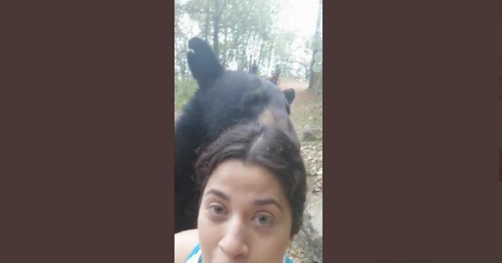 Mejores amigos: Chica se toma selfie con un oso senderista y derrite las redes