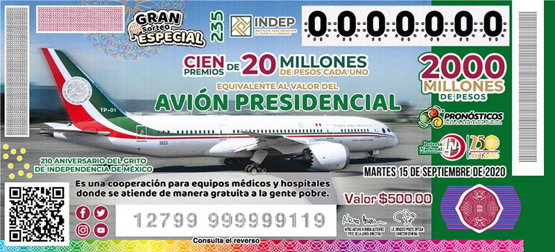 rifa avión presidencial