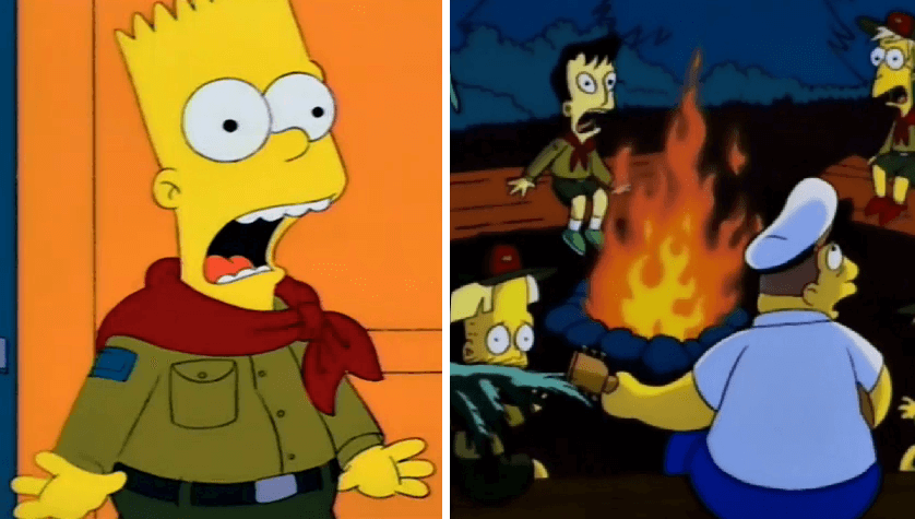 Por fin revelan el misterio del capítulo de los Simpson cuando Bart es explorador