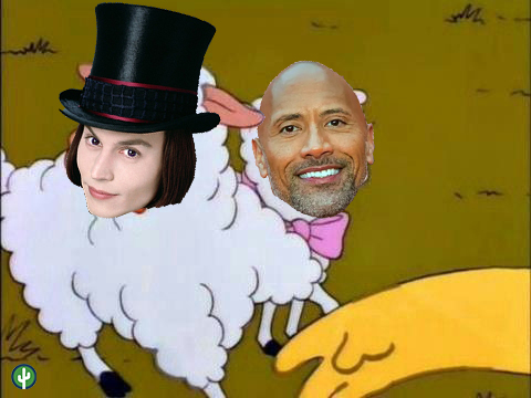 The Rock Johnny Depp Willy Wonka meme