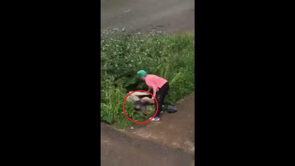 Abuelita agarra a palazos a pareja que encontró teniendo cuchi cuchi en un arbusto