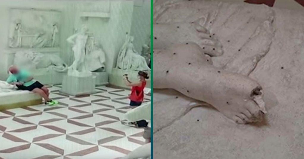 Clásico que quieres tomarte una foto bien chida y destruyes una escultura en el museo