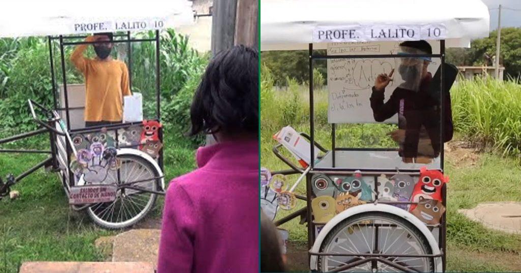 Denle el Nobel a este profe que va en triciclo a dar clase a sus alumnos sin internet