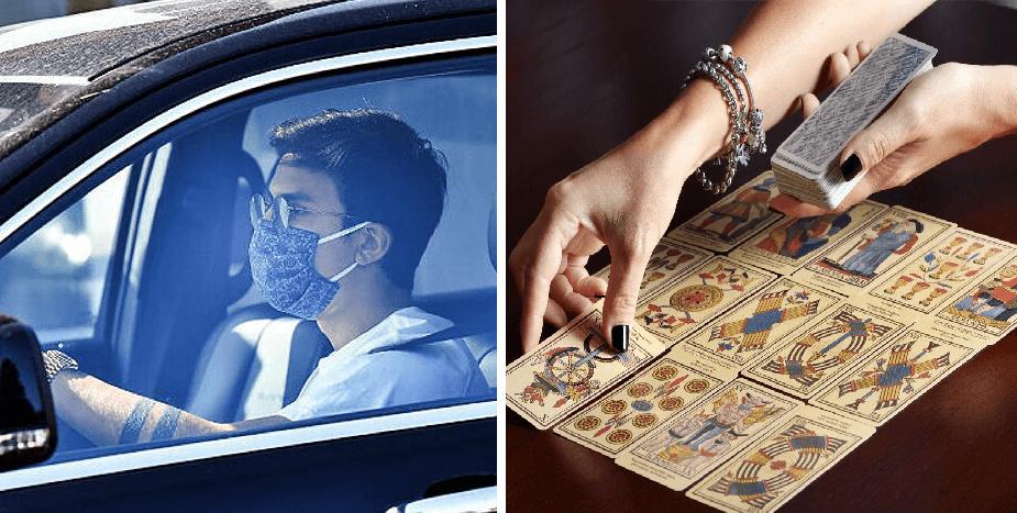 Persona que usa cubrebocas estando solo en el coche, se burla de los supersticiosos