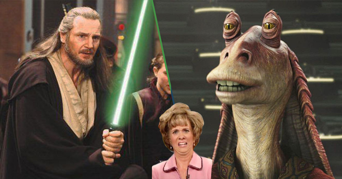 Cover Liam Neeson Jar Jar Binks Star Wars La Amenaza Fantasma
