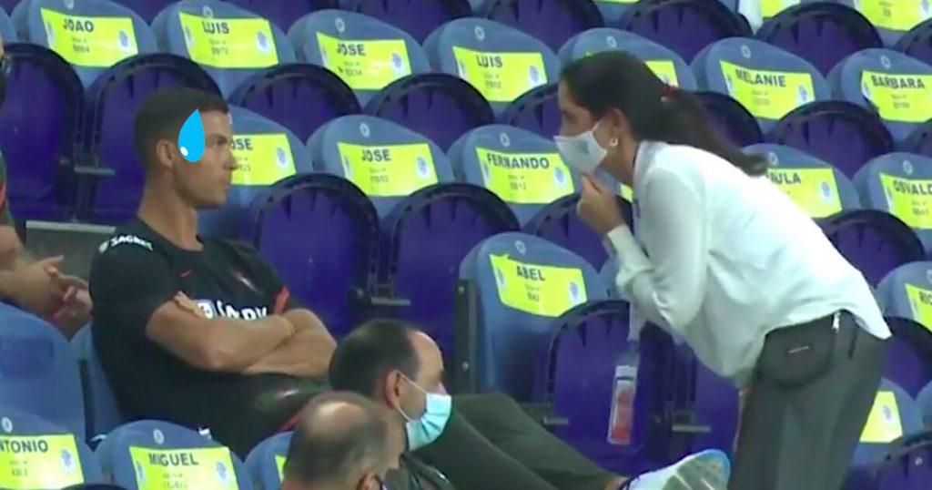 Cristiano Ronaldo fue regañado por no usar cubrebocas frente a todos