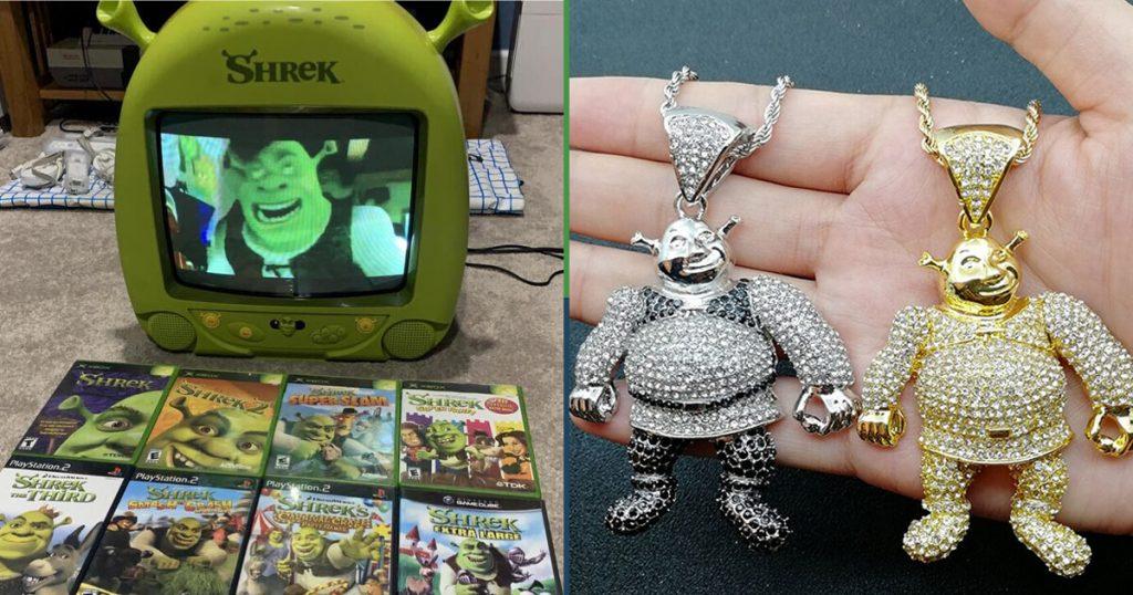 13 objetos de mercancía de Shrek, uno más espantoso que el anterior