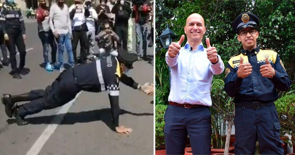 Sí hay policías chidos: El poli que ganó la reta de lagartijas ya es Embajador