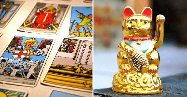 Personas que creen en el Horóscopo se burlan del gatito de la suerte de los negocios