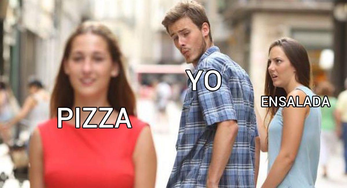 pizza yo ensalada meme //nota frases