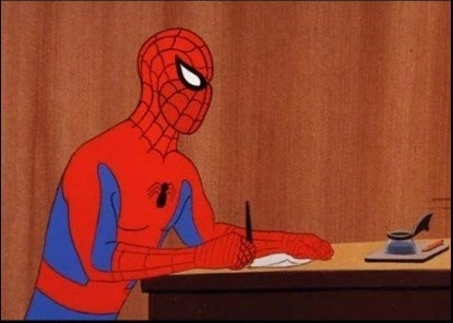spider-man writing meme //nota unesco toros