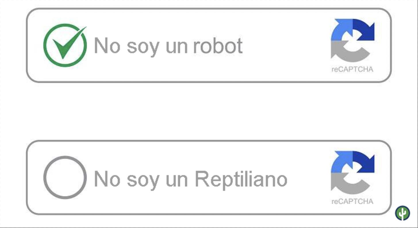 Captcha no soy un robot reptiliano meme