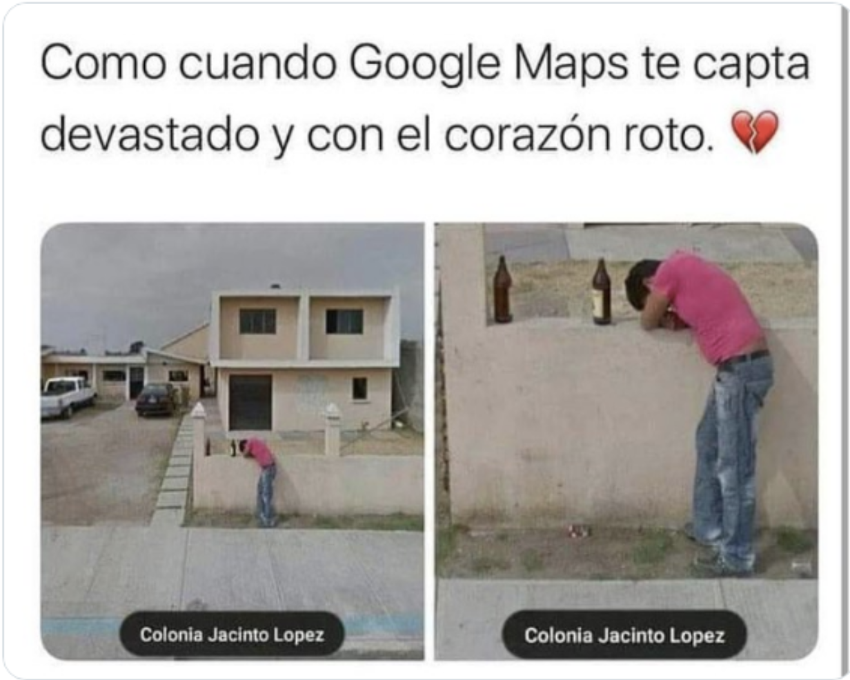 corazón roto google maps cdmx meme