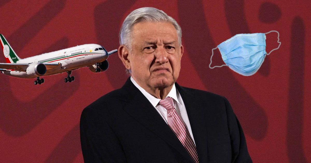 AMLO avion presidencial cubrebocas