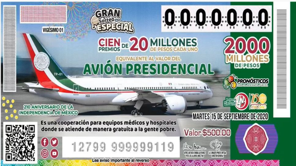 avion presidencial boleto rifa