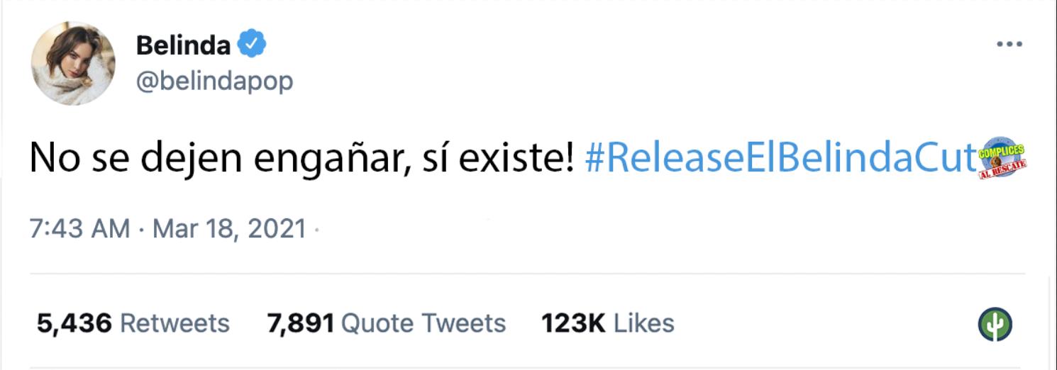 Belinda Cómplices al rescate tweet